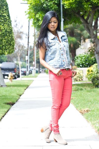 shearling vest H&M vest - ankle boots Dolce Vita boots