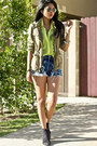Army-zara-jacket-levis-shorts-neon-chiffon-cotton-candy-top