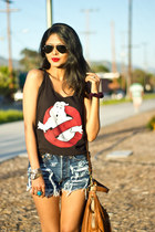 levis thrifted vintage shorts - ghostbuster tee f21 top