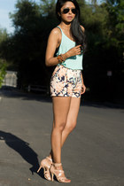 floral print Zara shorts - mint racerback Lush top