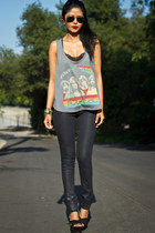 band tee Forever 21 top - coated denim Flying Monkey jeans