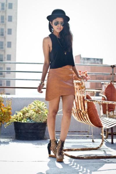 animal print Jeffrey Campbell boots - tawny leather skirts Kahlo skirt