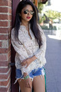 Ivory-lace-vintage-top-blue-lee-shorts