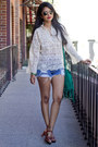 Blue-lee-shorts-ivory-lace-vintage-top