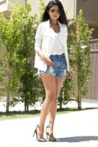white white Generation Love blazer - sky blue vintage Levis shorts