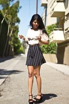 high waist unknown skirt - silk cropped Lush blouse