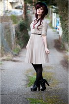 beige vintage dress - black litas Jeffrey Campbell boots