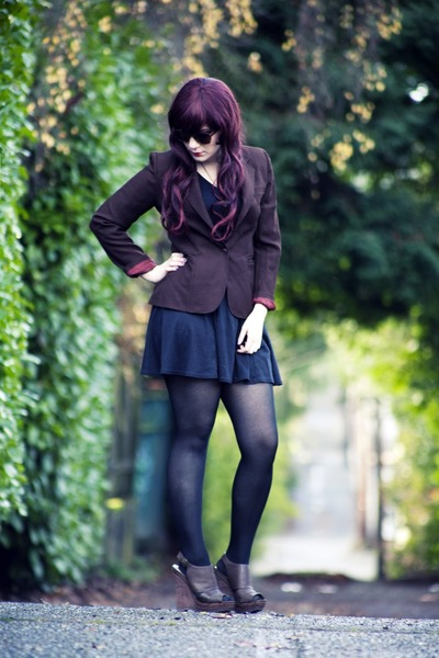 brown blazer vintage blazer - black a-line dress dress