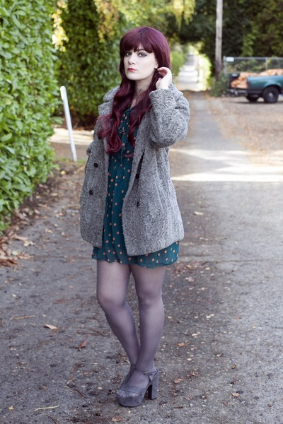 heather gray fuzzy vintage jacket - teal polka dotted dress