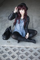 leather jacket jacket - boots - dress - bag