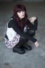 Platform-boots-boots-floral-dress-dress-black-hoodie-hoodie