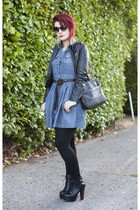 denim dress dress - litas Jeffrey Campbell boots - jacket - Nordstrom purse