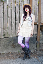 straw hat hat - boots - dress - leggings - denim vest vest - accessories