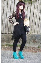 Ruby Rox dress - GoJane boots - black bowler hat - Nordstrom bag
