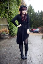 black caden booties Blowfish boots - black romwe dress - black bowler H&M hat