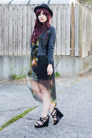 galaxy dress dress - bowler hat hat - jacket - black wedges Steve Madden wedges