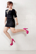 hot pink platform Call it Spring pumps - black Culte Femme dress