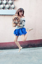 blue ballet Forever 21 skirt - heather gray Oxygen sweater