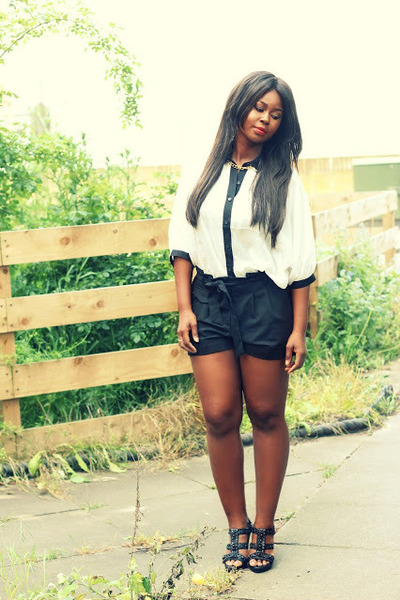 black batwing Miso shirt - white asos shorts - black sandals