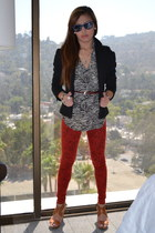 tan animal print Forever 21 blouse - ruby red animal print jeans - black blazer