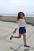 blue Pompili shoes - black Salvatore Ferragamo bag - blue rayban sunglasses