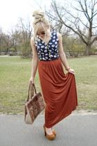 brick red River Island skirt - tawny River Island bag