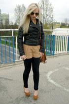 burnt orange heels - black jacket - bronze Vero Moda shirt