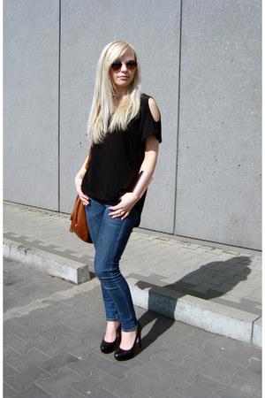 9a61c668cec2 black prima moda heels - blue Lee jeans - burnt orange H M bag