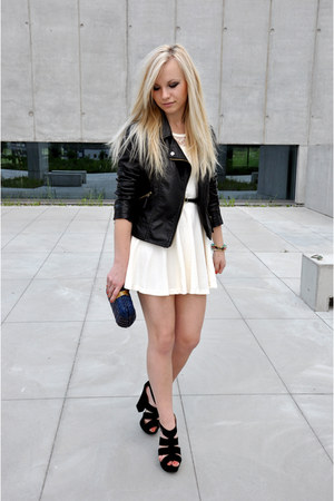 black CzasNaButy heels - cream OASAP dress - black OASAP jacket