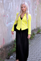 yellow Zara blazer - black F&F dress - black OASAP bag