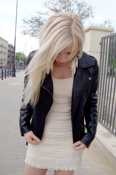20c3d4ff3ffc cream H M dress - black OASAP jacket
