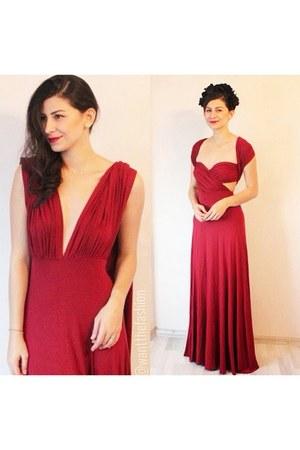 brick red Sheinside dress - ruby red Sheinsidecom dress