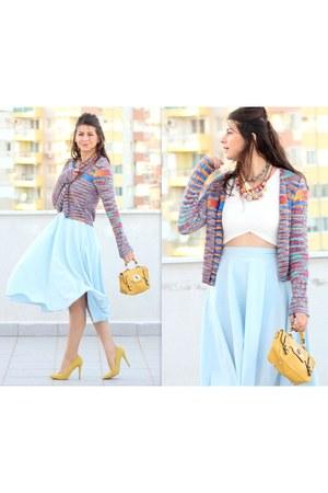 OASAP necklace - Zara necklace - aquamarine Chicwish skirt