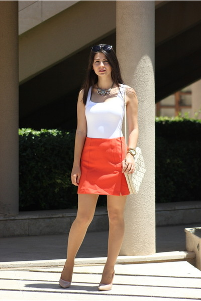 cream Zara bag - carrot orange kate spade skirt - salmon OASAP necklace