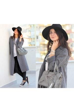 heather gray oxxo coat - periwinkle OASAP bag - black Converse sneakers