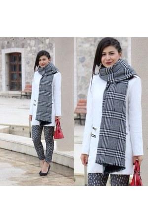 ivory Sheinside coat - OASAP scarf - red Hermes bag