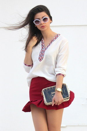 black OASAP bag - white romwe sunglasses - red OASAP skirt