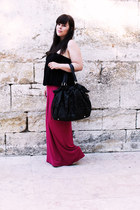 black Parfois bag - hot pink Stradivarius skirt - black Bershka top