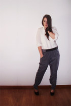 black shoes - charcoal gray Zara pants - ivory vintage blouse - black watch - bl