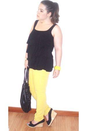 yellow Pepe Jeans jeans - black Parfois bag