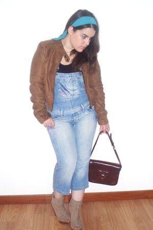 brown Bershka jacket - beige Bershka boots - blue RULYS - vintage bag - vintage