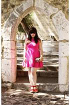 hot pink Zara dress - red Parfois wedges - Bershka wallet