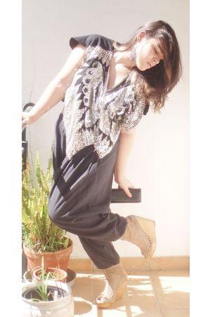 Bershka shoes - Parfois - vintage top - black pants