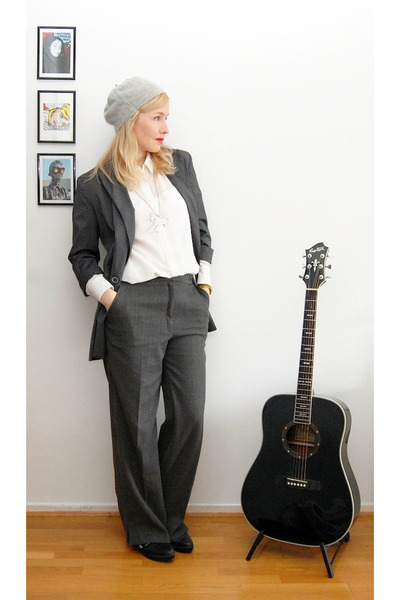charcoal gray blazer - silver hat - charcoal gray pants - white HM Trend blouse