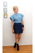light blue DIY shirt - navy DIY skirt - black vagabond wedges