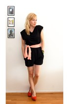 black H&M romper - carrot orange vagabond shoes - light pink DIY scarf