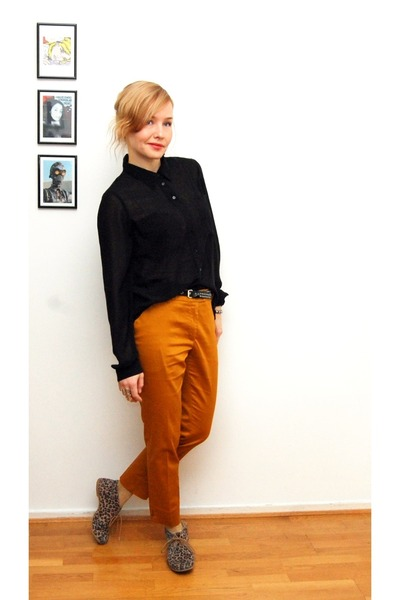 mustard H&M pants - gold H&M socks - black GINA TRICOT blouse