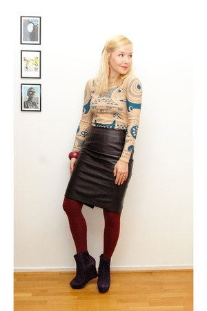 crimson HM Trend skirt - deep purple Office shoes