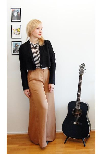 black suede weekday blazer - yellow weekday purse - white Vero Moda blouse