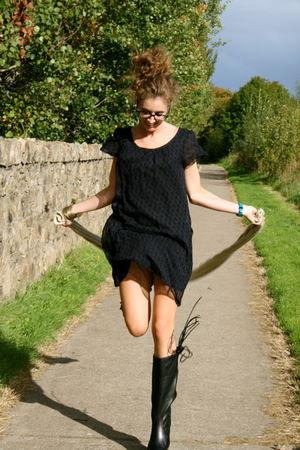 Dei colli boots - H&M dress - Diesel scarf - Henry Holland accessories